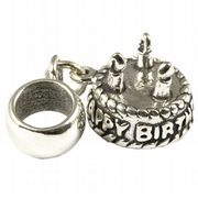 Birthday Cake 3 candles Sterling Silver 3D Dangle Charm / Carrier Bead